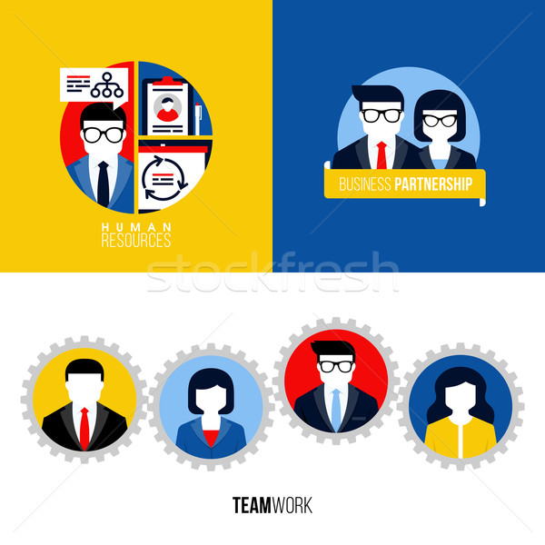 Modern flat icons of human resources, business partnership, teamwork Stock photo © ussr