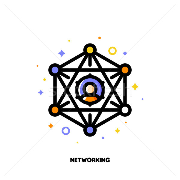 Abstract social network scheme with icons of people who enjoy Stock photo © ussr