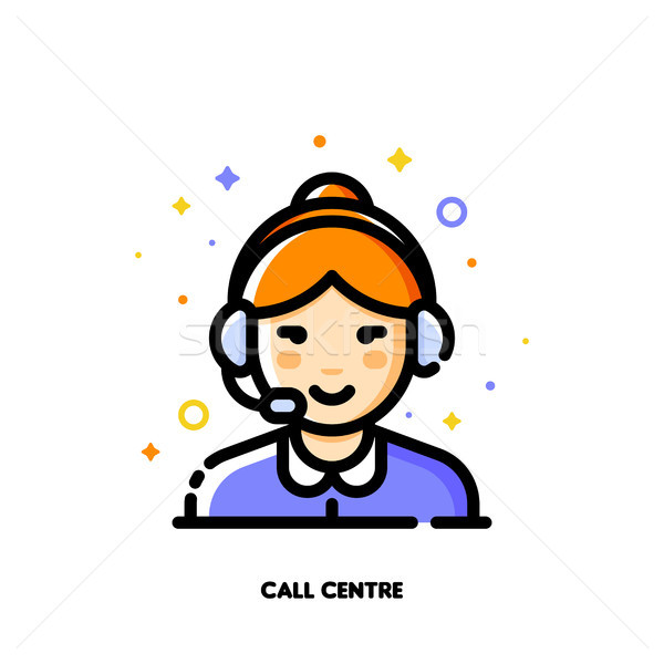 Symbol cute Mädchen tragen Headset Call Center Stock foto © ussr