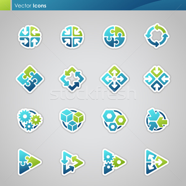 Abstract meetkundig iconen vector logo sjabloon Stockfoto © ussr