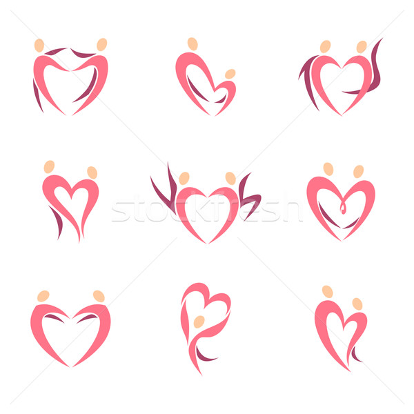 Stock photo: Abstract human silhouette of couple in the shape of heart. Icon