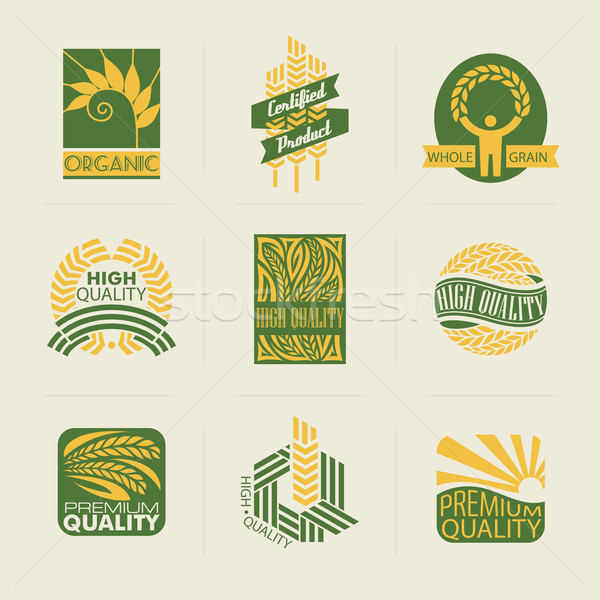 Stock photo: Wheat labels and badges. Set of logo templates. Elements for des
