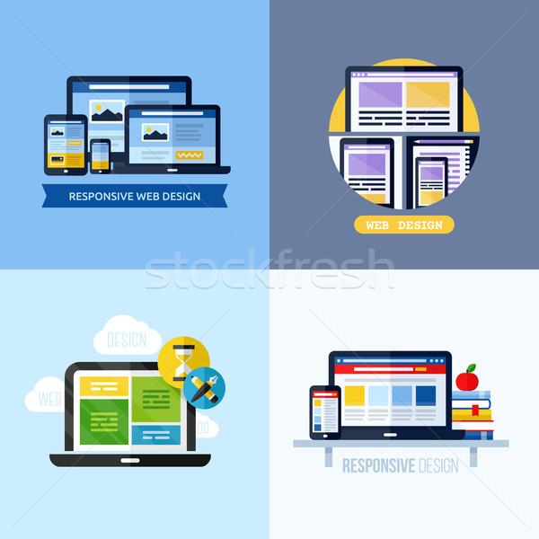 Modern flat vector concepts of responsive web design. Icons set for websites, mobile apps and printe Stock photo © ussr