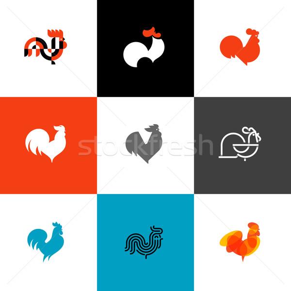 Haan haan ontwerp stijl vector illustraties Stockfoto © ussr