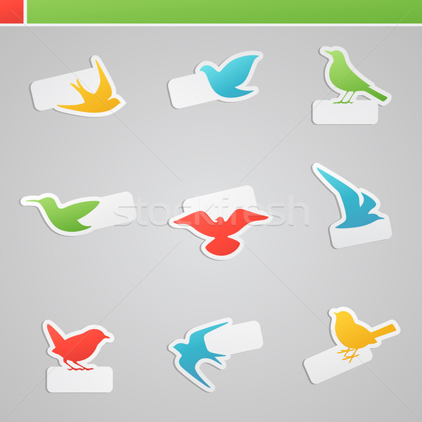 Stock photo: Set of multicolored birds. Vector logo template set.