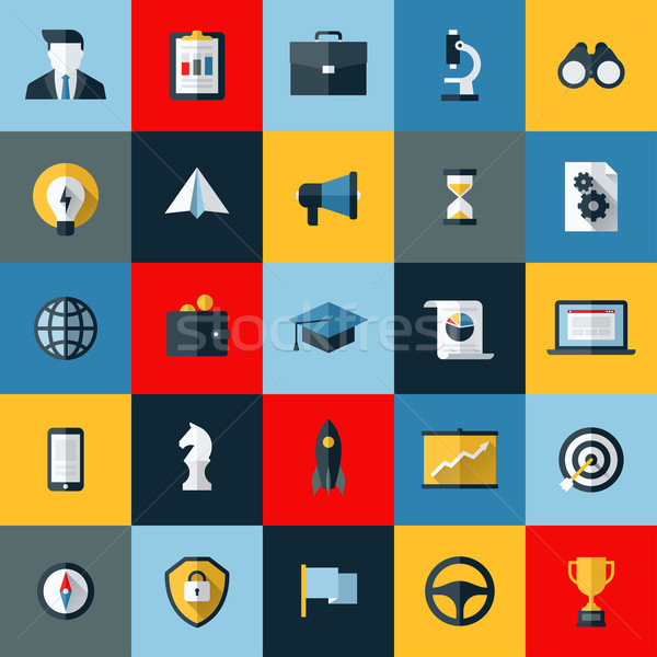 Flat design vector icons set of SEO website searching optimization and social media marketing  Stock photo © ussr