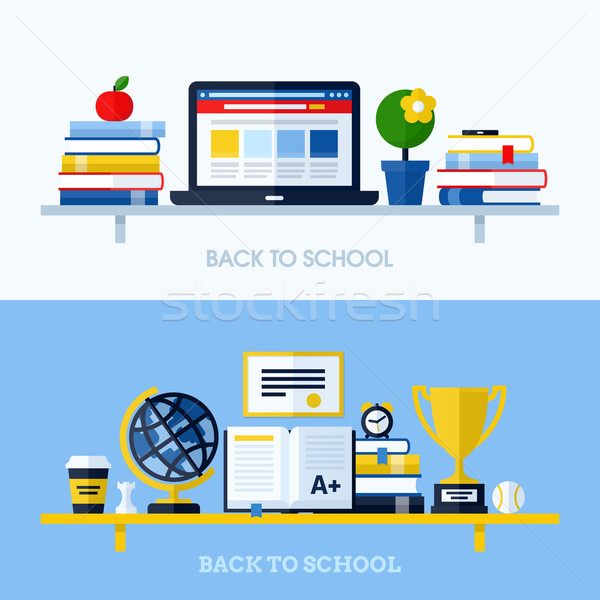 School flat design vector illustration with bookshelf and school supplies. Concepts for websites and Stock photo © ussr