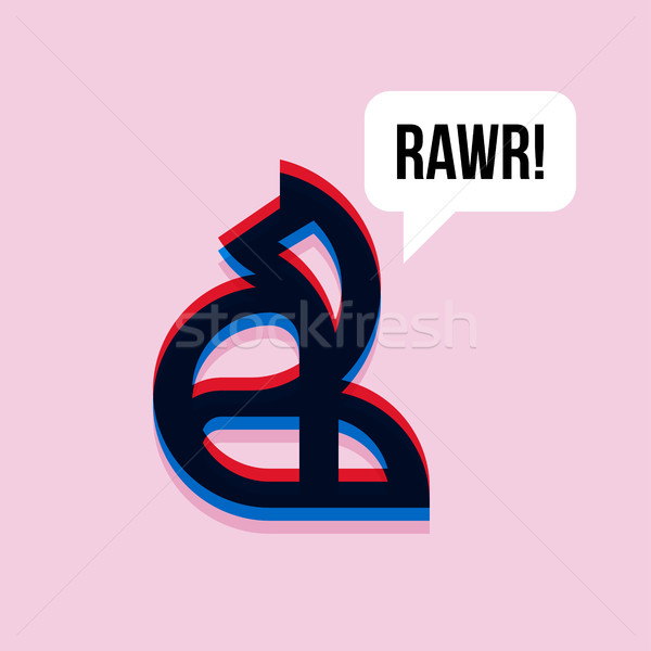 Fox saying rawr. 3d effect character with expressive interjectio Stock photo © ussr