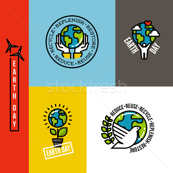 Ecology, go green and eco-friendly concepts with Earth planet, human hands and peace dove. Set of en Stock photo © ussr