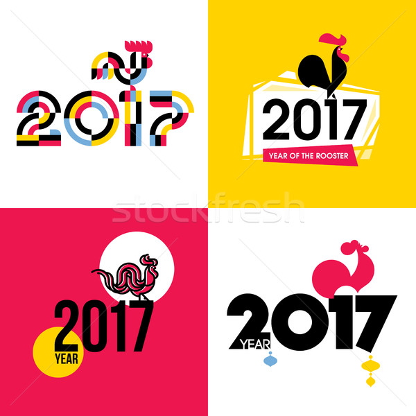 Stylish New Year flat vector illustration of fire cock as symbol of 2017 year on Chinese calendar Stock photo © ussr