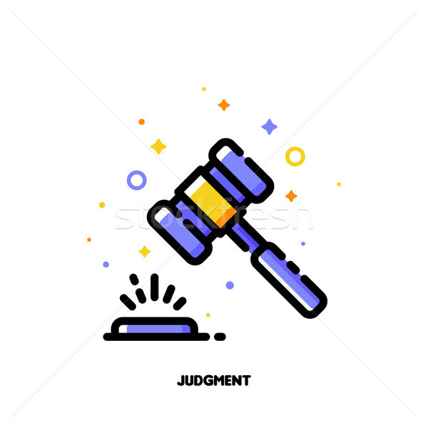 Icon Of Law Hammer Or Wooden Judge Gavel For Judgment Concept Vector