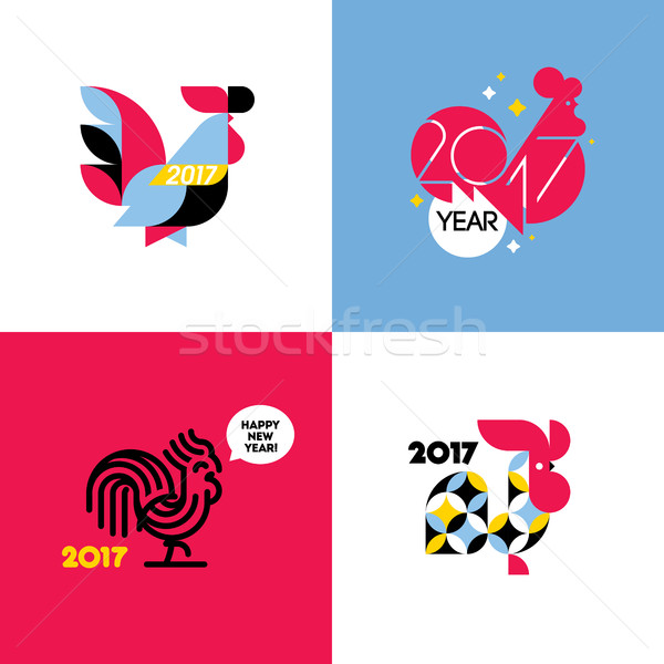 New Year design with silhouette of rooster. Set of modern flat style vector illustrations of cock Stock photo © ussr
