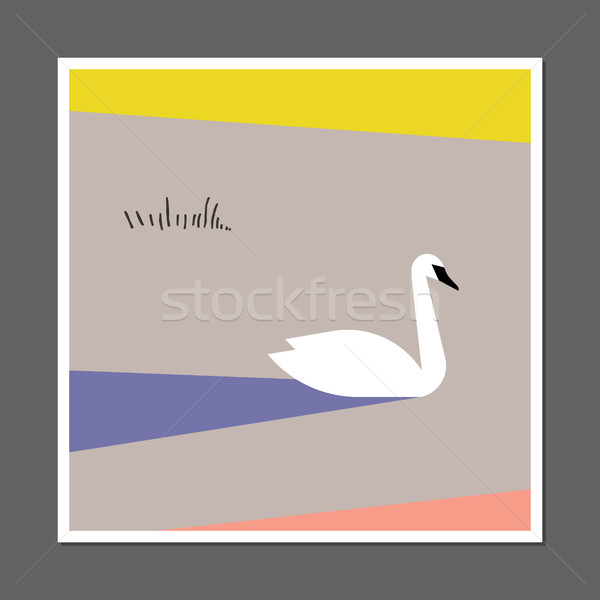 White swan on color block background. Scandinavian style poster Stock photo © ussr