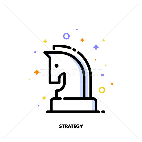 Icon of knight chess piece for business plan or strategy concept Stock photo © ussr