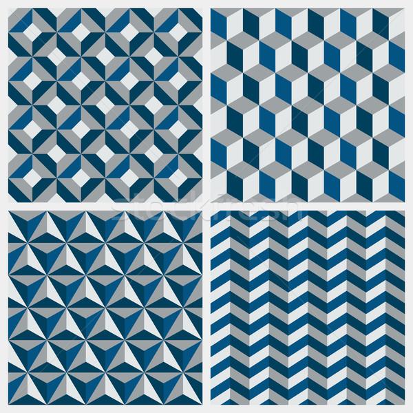 Set of geometric seamless patterns. Vector illustration. Stock photo © ussr