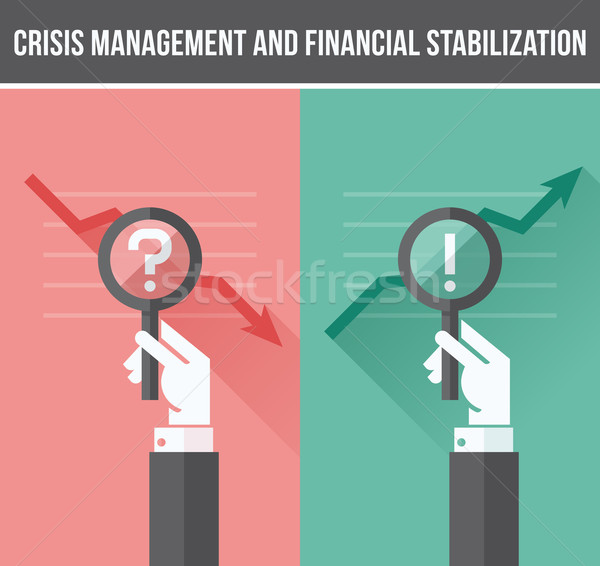 Flat design concept of analyzing business financial and economic crisis and growth. Vector illustrat Stock photo © ussr