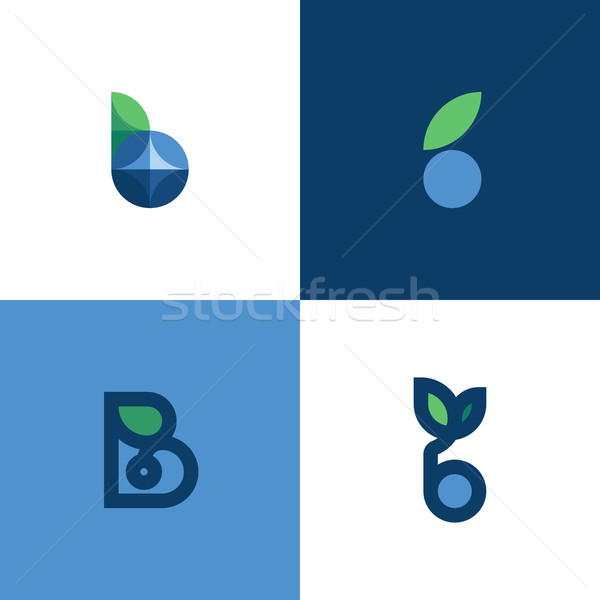 Set of icons or logo templates of letter b and blue berry with leaf Stock photo © ussr