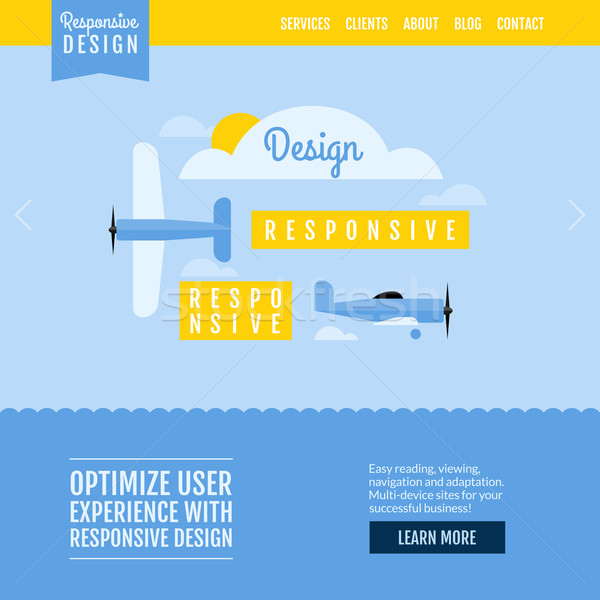 Modern flat vector website template with planes displaying responsive design Stock photo © ussr