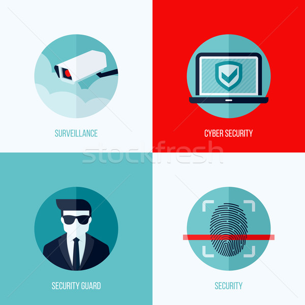 Stock photo: Modern flat vector concepts of security and  surveillance. Icons set for websites, mobile apps and p