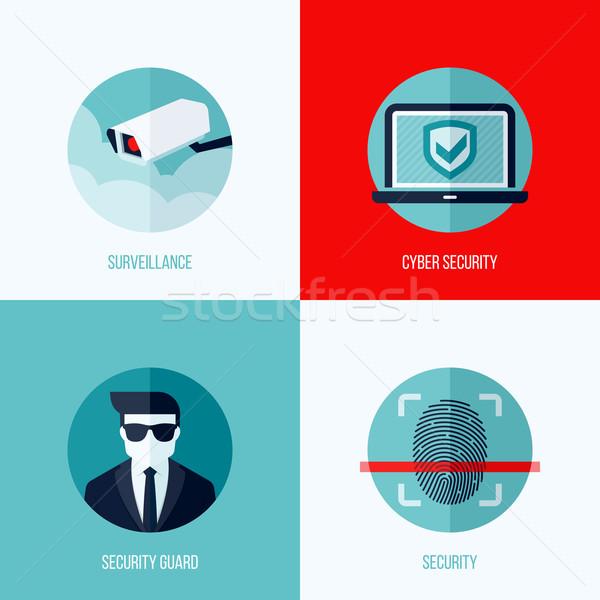 Stock fotó: Modern · vektor · fogalmak · biztonság · megfigyelés · ikon · szett