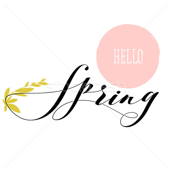 Fresh hello spring lettering and growing herb stem Stock photo © ussr