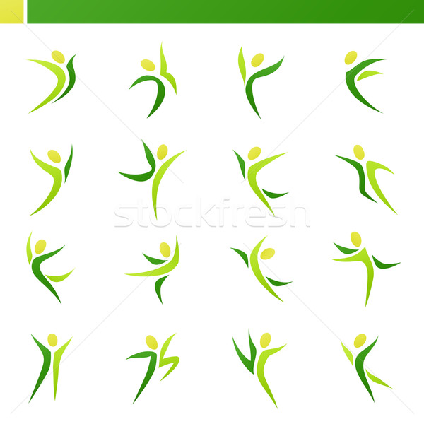 Stock photo: Abstract human figures in action. Vector logo template set.