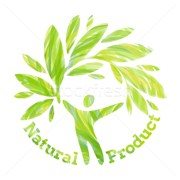 Stock photo: Human figure holding foliage branch. Natural product design conc