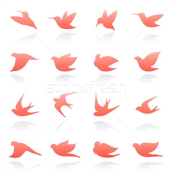 Vogels communie ontwerp vector logo sjabloon Stockfoto © ussr