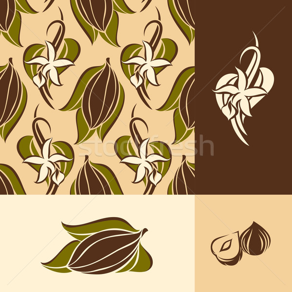 Cocoa bean with leaves and vanilla flower with pods. Seamless pattern and design elements Stock photo © ussr