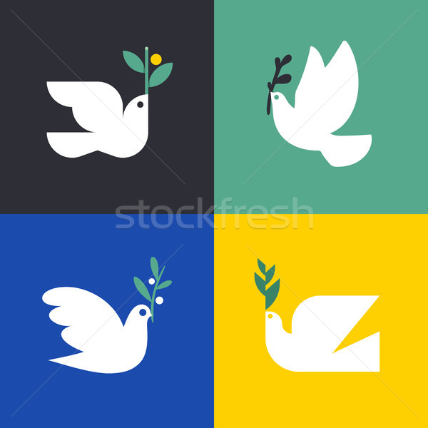 Peace dove. Flat style vector icon or logo template of pigeon with olive branch Stock photo © ussr