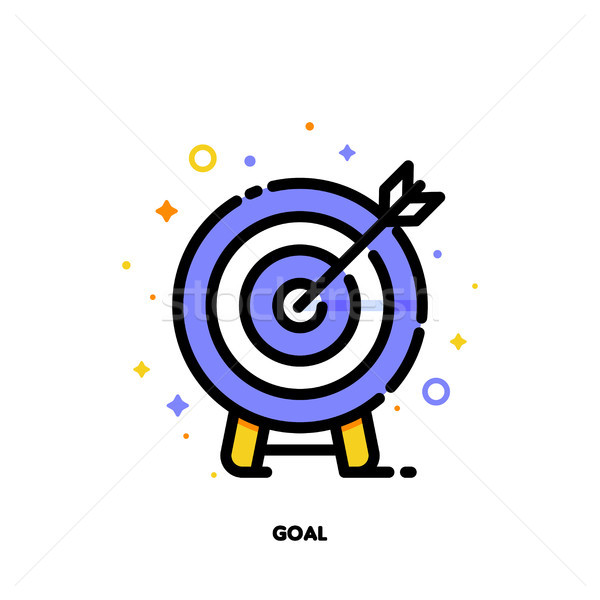 Flat icon of arrow in center of board for business goal concept Stock photo © ussr