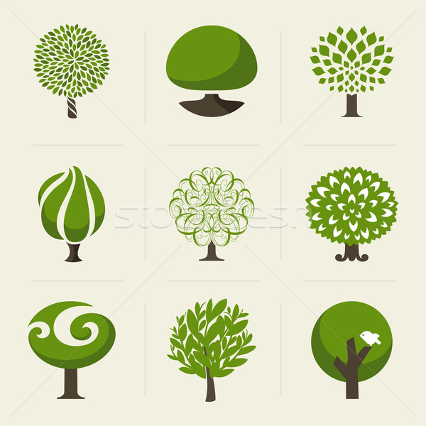 Tree. Collection of design elements. Vector logo templates set Stock photo © ussr