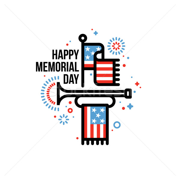 Happy Memorial Day vector greeting card with American flag and bugle Stock photo © ussr