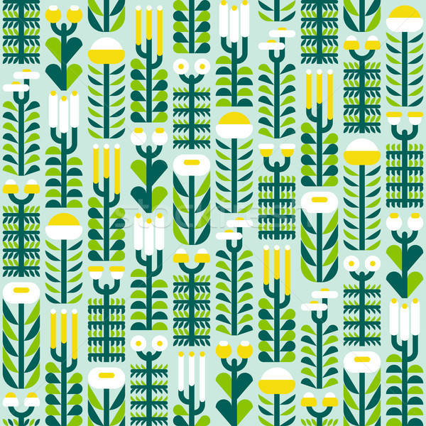 Seamless pattern with wild herbs and flowers in flat style Stock photo © ussr