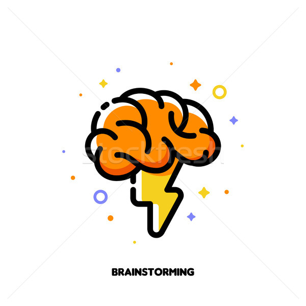 Icon with human brain and lightning for brainstorming techniques Stock photo © ussr