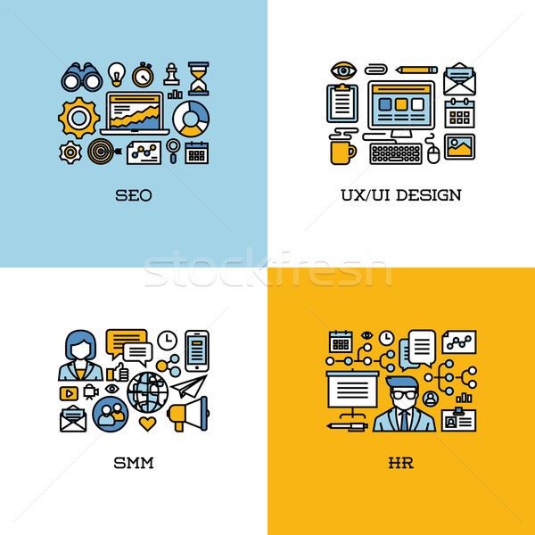 Flat line icons set of SEO, UI and UX design, SMM, HR Stock photo © ussr