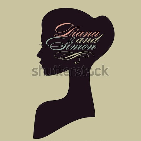 Beautiful female face silhouette of girl in profile.  8 March women's day card with portrait Stock photo © ussr