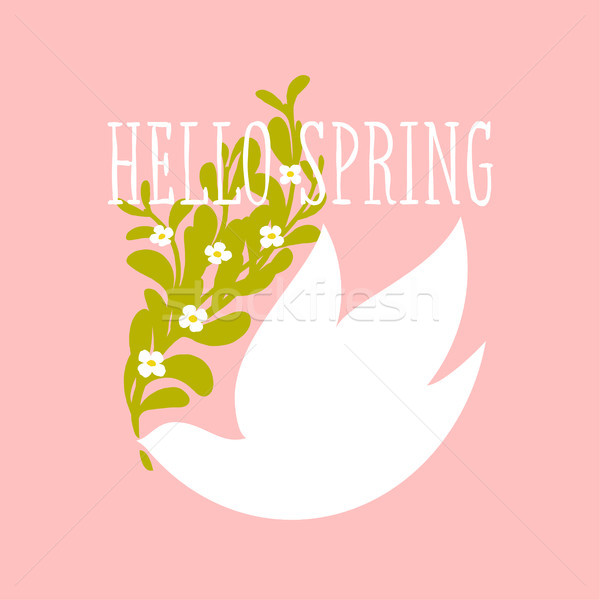 Hello spring text and white bird with flowers on pink background Stock photo © ussr