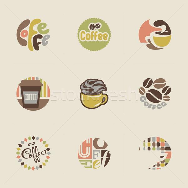 ретро кофе набор вектора дизайна Элементы Сток-фото © ussr