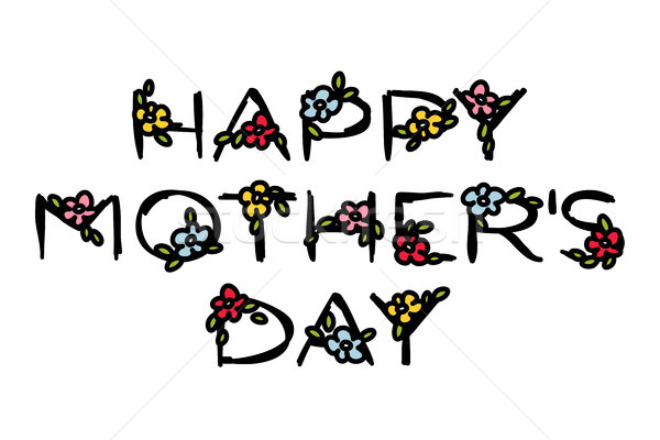 Happy Mother's Day lettering with cute flowers on a white Stock photo © ussr