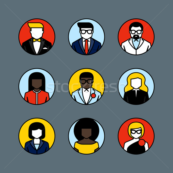 Flat line vector avatars. Male and female user icons Stock photo © ussr