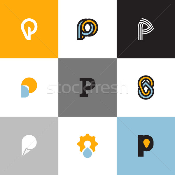 Set of letter P logo templates with drop and light bulb. Collection of creative vector icons Stock photo © ussr