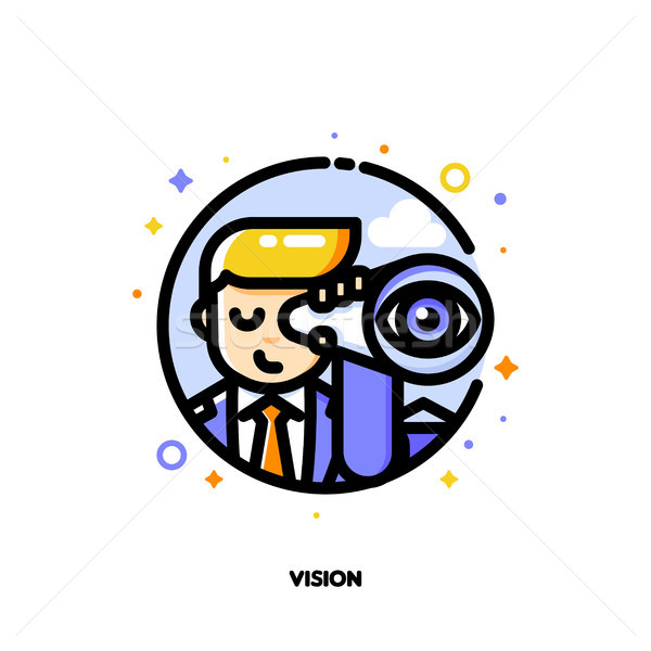 Icon of businessman looking through telescope for business vision concept Stock photo © ussr