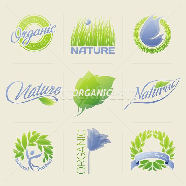 Foto d'archivio: Natura · etichette · badge · simboli · foglie · fiori