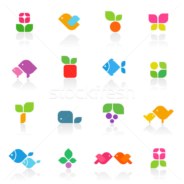 Colorful nature. Elements for design. Vector logo template set. Icon set. Stock photo © ussr