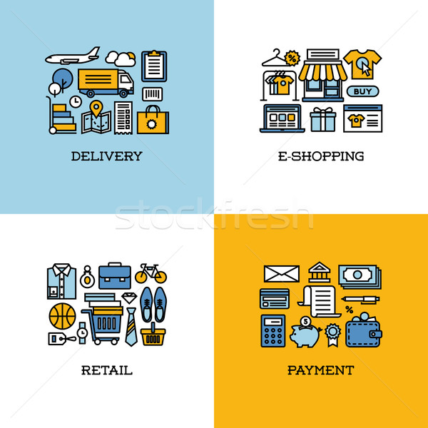Flat line icons set of delivery, e-shopping, retail, payment Stock photo © ussr