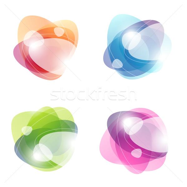 Abstract colorato etichette vetro segno verde Foto d'archivio © ussr