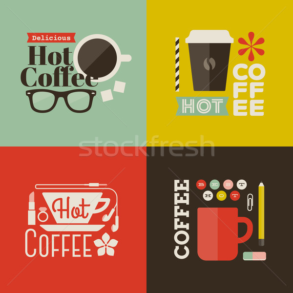 Stock fotó: Forró · kávé · gyűjtemény · vektor · terv · elemek