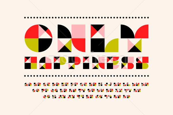 Festive only happiness font in modern style. Mosaic alphabet Stock photo © ussr