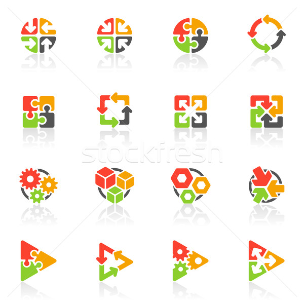 Abstract geometrical icons. Vector logo template set. Elements for design. Stock photo © ussr